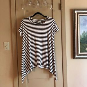 Easel Brown and cream Striped Tee